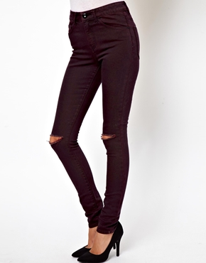 ASOS | ASOS Ridley High Waist Ultra Skinny Jeans in Oxblood Double Weft with Ripped Knees at ASOS