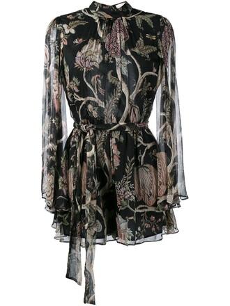 women floral print black silk romper