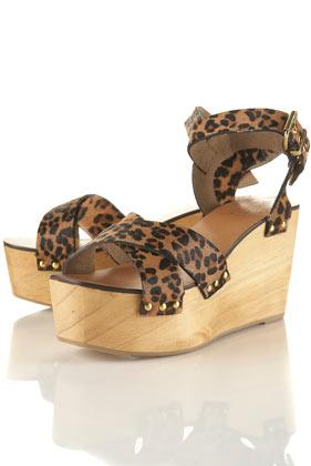 Chaussures ã talons compensã©s en bois avec effet peau de poulain wynna