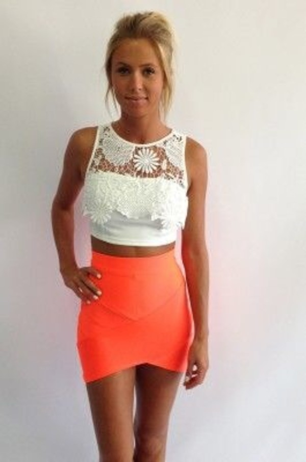 tank top white crop tops lace skirt shirt blouse white with lace orange skirt white crop tops vegas dress bodycon skirt orange bodycon