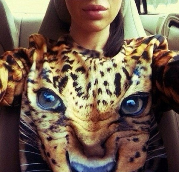 lion lady blue leopard print girly cute animal face print blouse leo