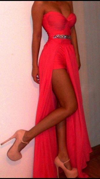 dress neon draped sexy dress gorgeous dress coral dress prom dress pink dress