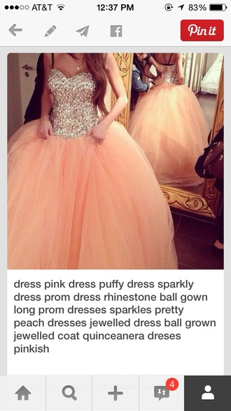 peach rhinestone puffy dress peach prom dress long rhinestones peach dress