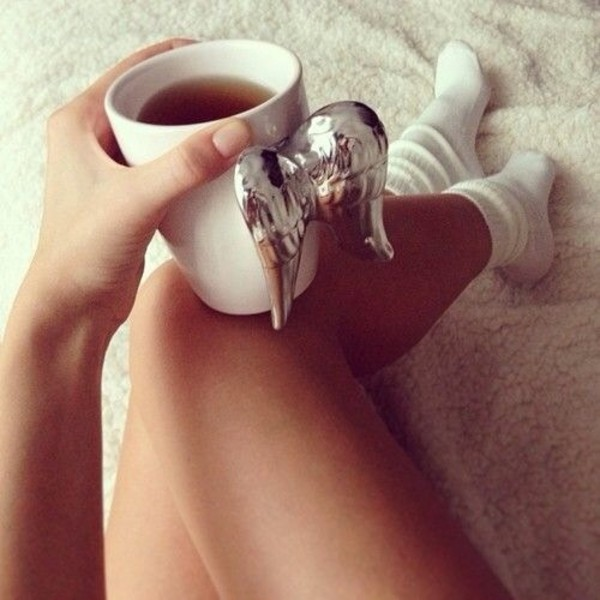 dress coffee angel wings beautiful chic silver tiffany white coffee mug jewels wings
