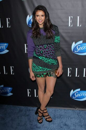 dress nina dobrev sandals mini dress shorts sweater top shoes platform sandals