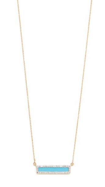 Adina Reyter Turquiose + Diamond Bar Necklace - Turquoise/Gold