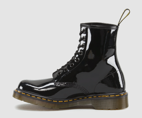 Dr Martens 1460 WOMENS BLACK PATENT LAMPER - Doc Martens Boots and Shoes