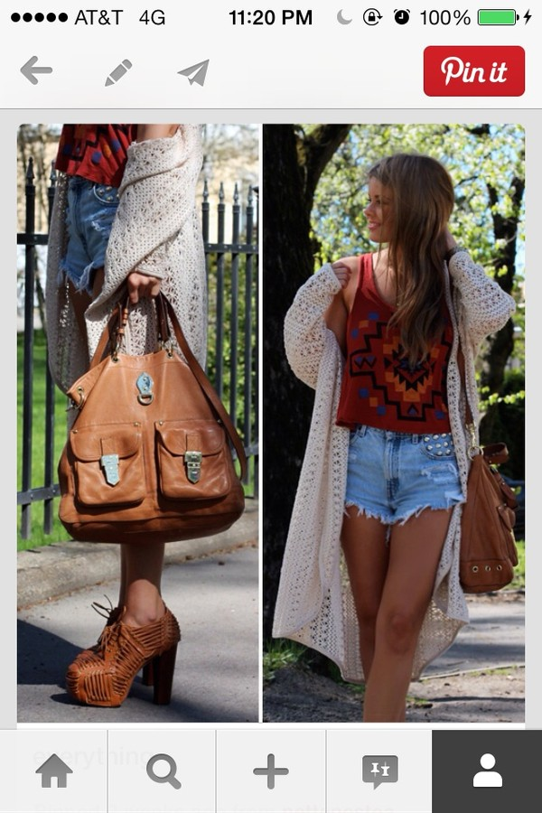 sweater long shirt shorts bag boho knit