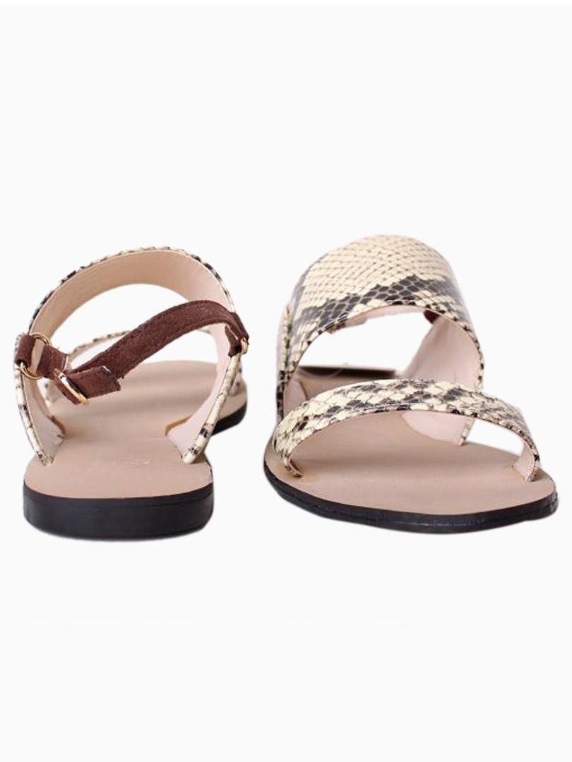 9c0281eb94ae Snakeskin Double Strap Flat Sandals - Choies.com