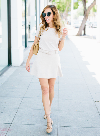 sydne summer's fashion reviews & style tips blogger jewels bag shoes sunglasses white top white skirt mini skirt shoulder bag yellow bag pointed flats lace up flats nude flats flats black sunglasses skater skirt skirt top