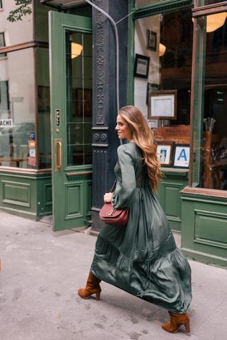 dress brown boots green dress tumblr maxi dress long dress fall dress boots long sleeves long sleeve dress fall outfits bag