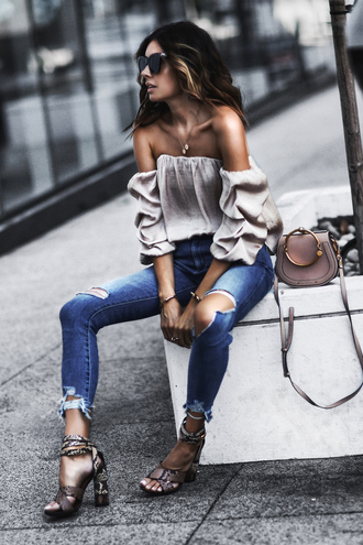fashionedchic blogger shirt jeans bag jewels shoes sandals high heel sandals off the shoulder top shoulder bag summer outfits