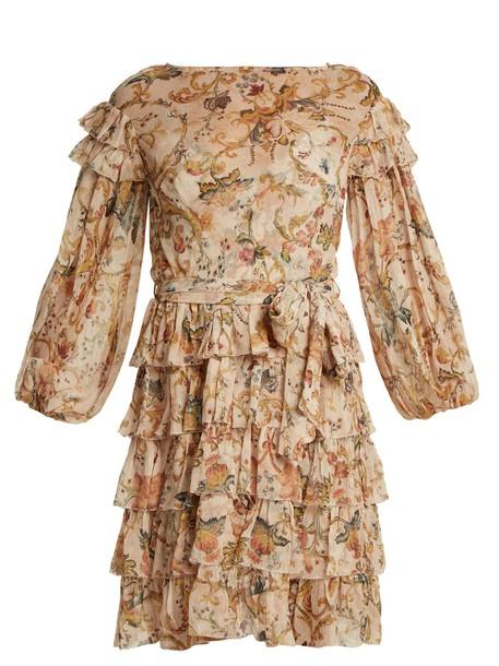 Zimmermann dress silk dress heart ruffle floral print silk pink