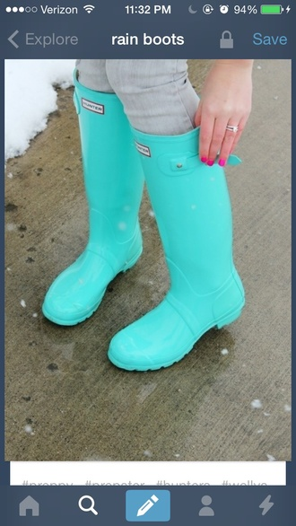shoes teal teal rain boots wellies hunter rain boots