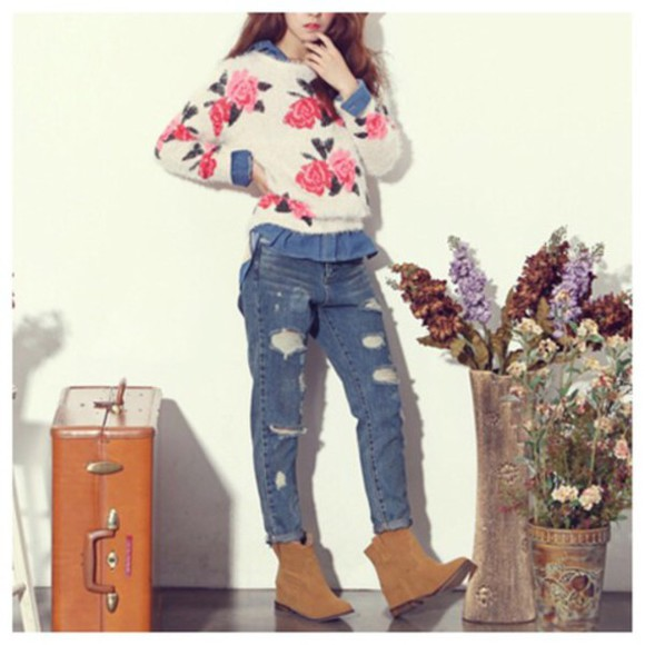 fashion cute sweater roses floral top clothes blouse fall outfits kawaii girly