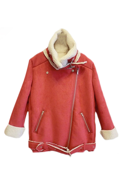 ROMWE | ROMWE Zippered Lapel Long Sleeves Red Coat, The Latest Street Fashion