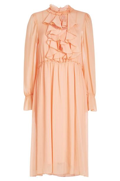 See by Chloé Ruffled Midi Dress  in orange