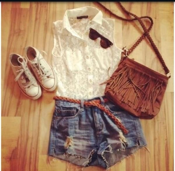 blouse outfit shirt white lace shorts denim belt sunglasses bag brown shoes