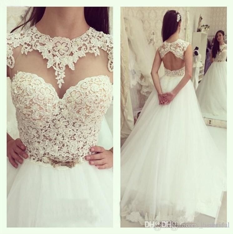 2015 new sexy see through lace a line wedding dresses for Crew neck wedding dress