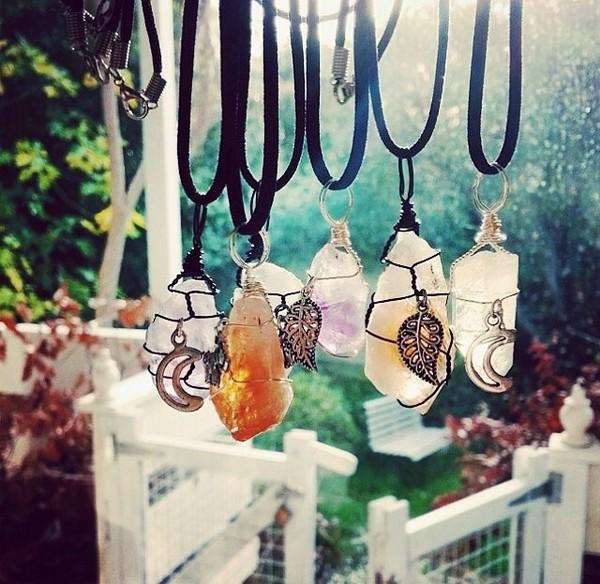 jewels gemstone necklace hippie boho