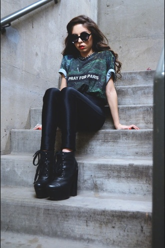 shirt t-shirt winter swag top paris pray pray for paris green boots black sunglasses shoes pants grunge alternative katvond goth sailor vinyl dark