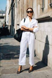 le fashion image,blogger,sunglasses,jumpsuit,dress,shoes,white pants,white shirt,heels
