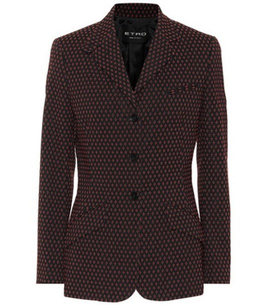 Etro Jacquard cotton-blend blazer in black