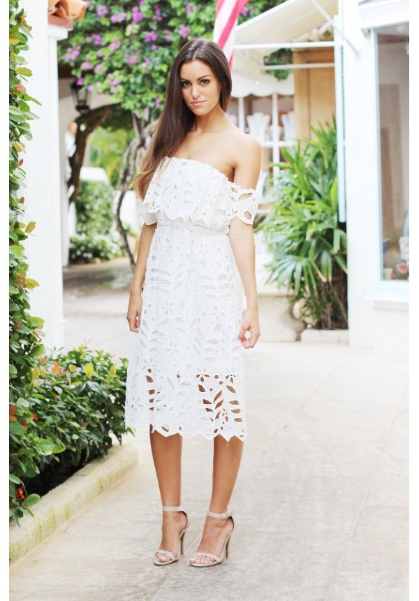 White lace off the shoulder midi dress  a1d7b64b8ed7