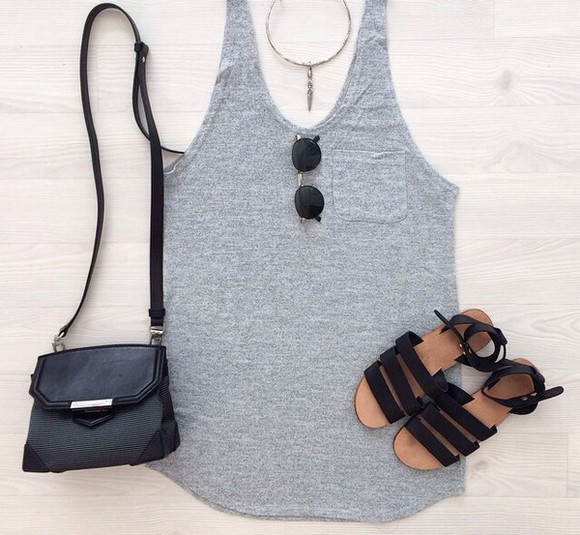 black bag grey t-shirt necklace