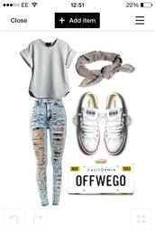 jeans,shirt,shoes,hat,bag,blouse