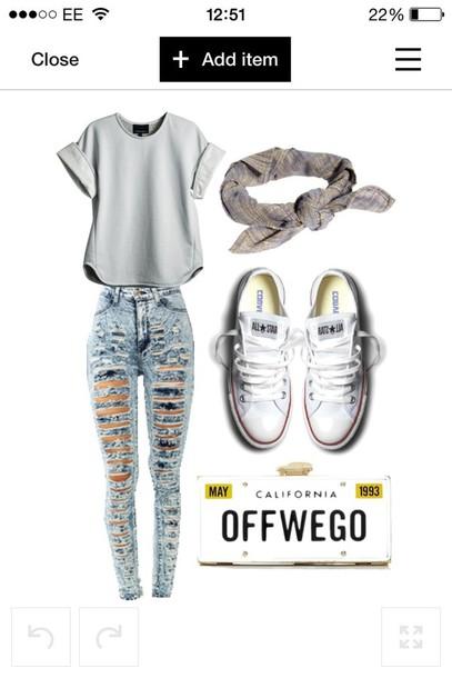 jeans shirt shoes hat bag blouse