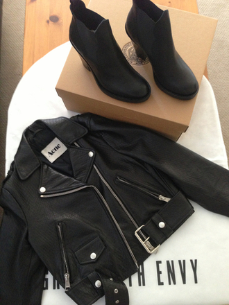 jacket leather jacket shoes ankle boots black leather perfecto cuir