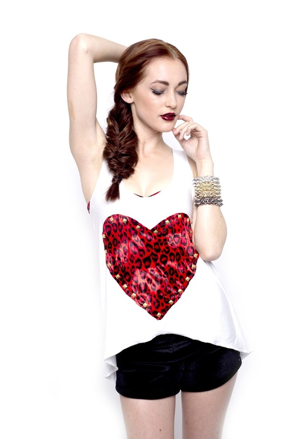 tank top white tank top heart marialia red white leopard print studs leopard print