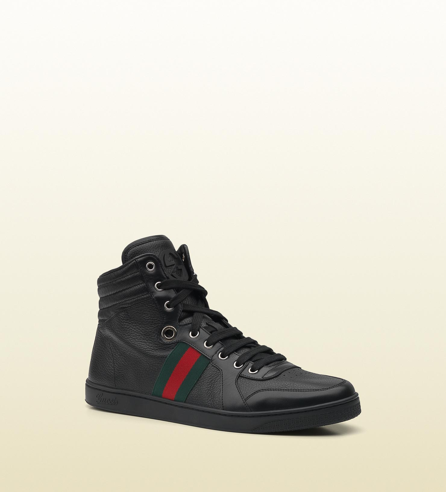 Gucci - hi-top lace-up sneaker with interlocking G and signature web detail. 221825ADFX01060