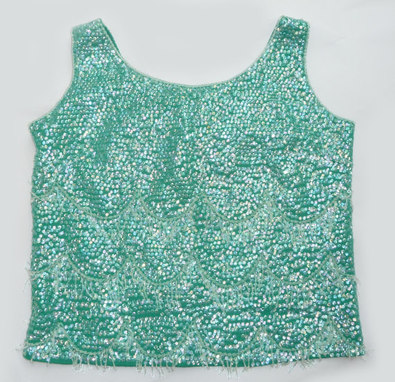 Vintage 1960s mermaid sequins beaded crop top by supellexdecor