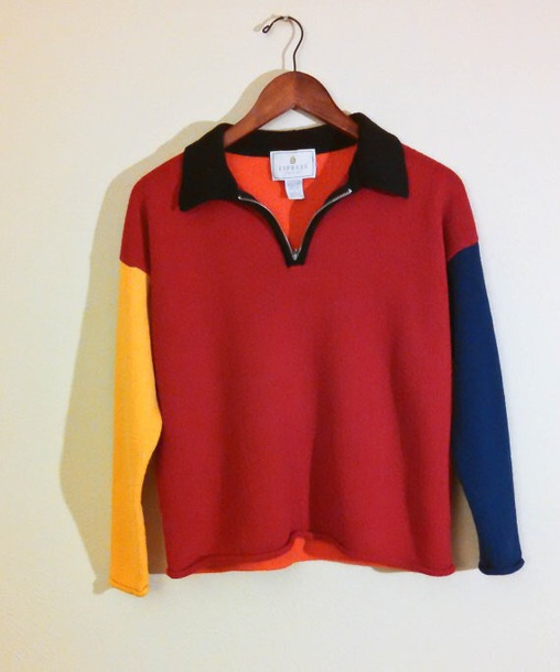 jacket colorblock sweater zip up pullover vintage 90s style