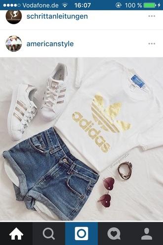 shirt adidas white white t-shirt gold short tight