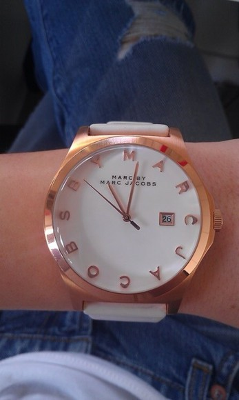 jewels simple watch marc jacobs white rose gold leather