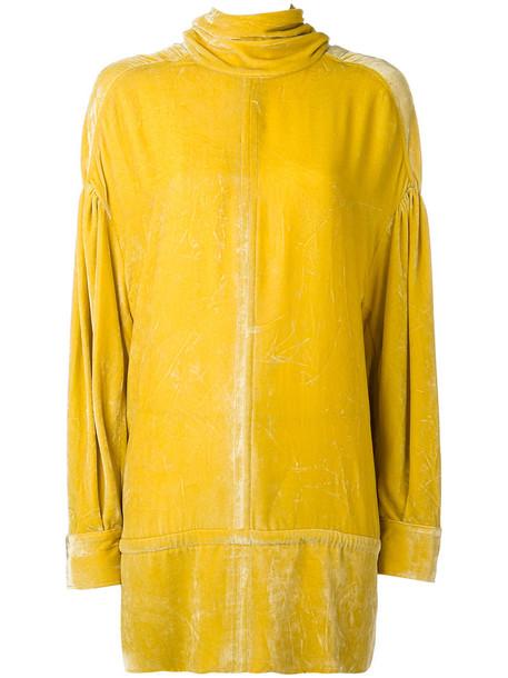 top oversized women silk yellow orange