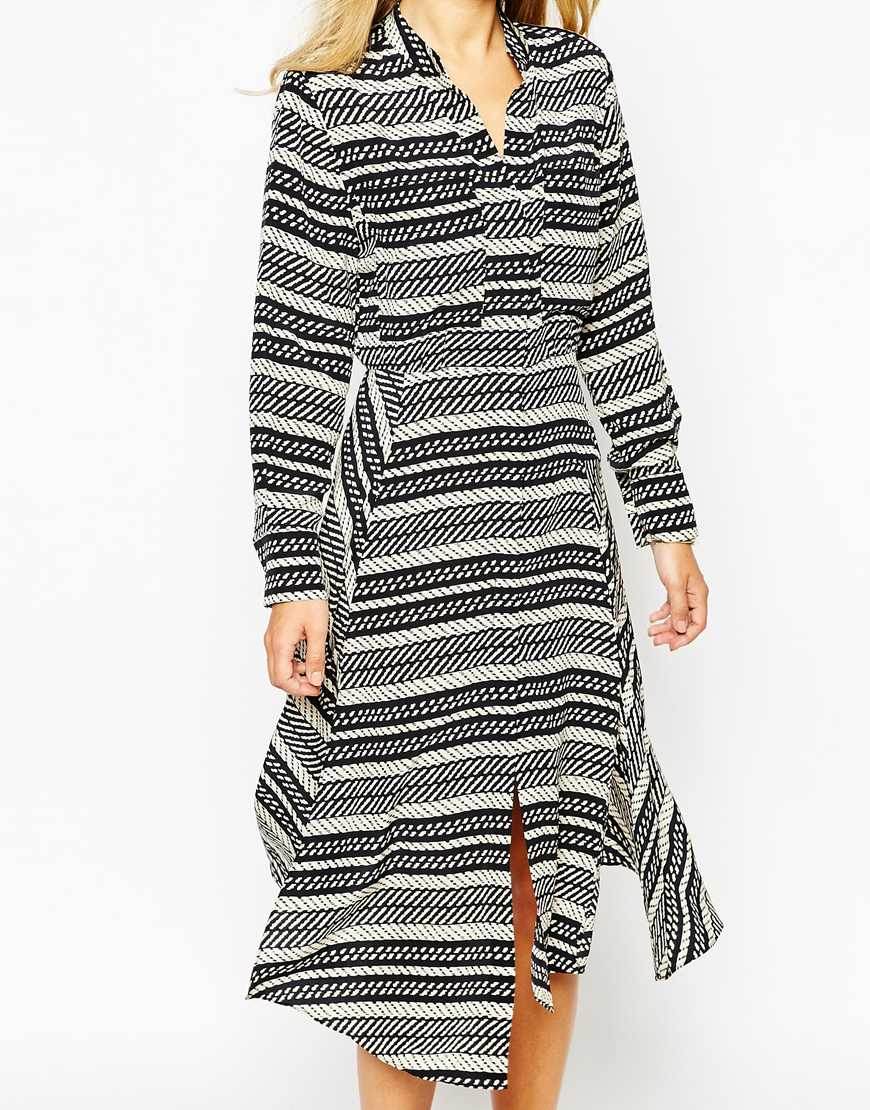 Whistles Ikat Stripe Silk Drape Shirt Dress At Asos