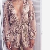 romper,embellished,long sleeve romper,jumpsuit,gold,sheer,cestvogue,vogue,party,dress,outfit,look,style,instagram,plunge neckline,sexy,pretty,cute,plunge v neck,long sleeves