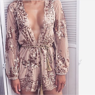 romper embellished long sleeve romper jumpsuit gold sheer cestvogue vogue party dress outfit look style instagram plunge neckline sexy pretty cute plunge v neck long sleeves