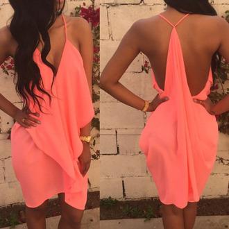 dress coral asymmetrical assymetrical skirts hot pink dress sammydress clothes summer dress coral dress short dress