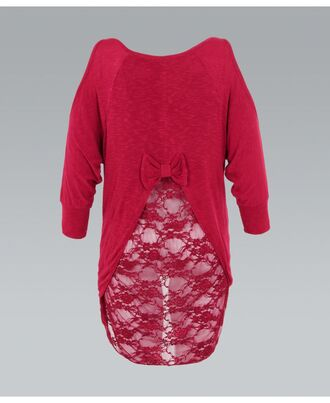 top red lace lace sweater bow back ustrendy fall outfits