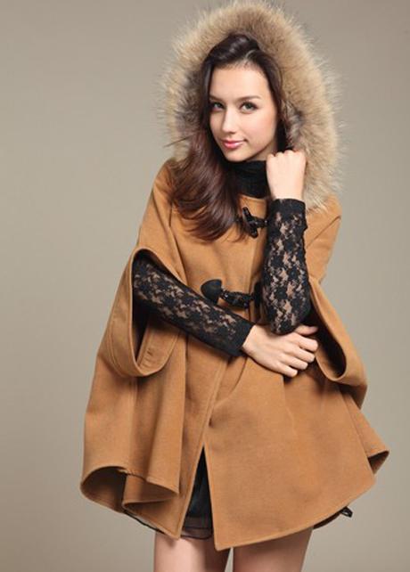 High Street Light Tan Cloak Coats with Hooded Collar | martofchina.com