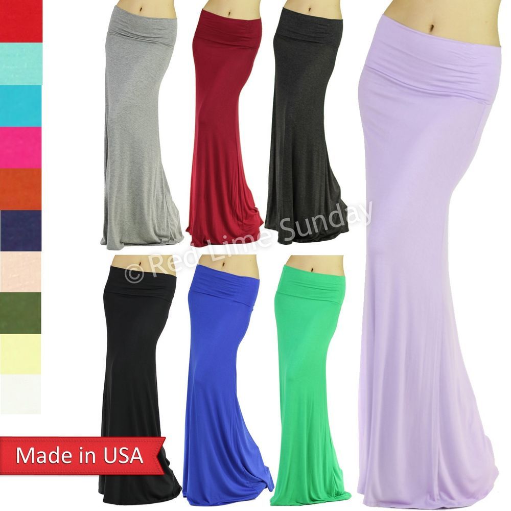 Urban Fashion Soft Jersey Rayon Fold Over Color Long Maxi Skirt Regular Plus USA