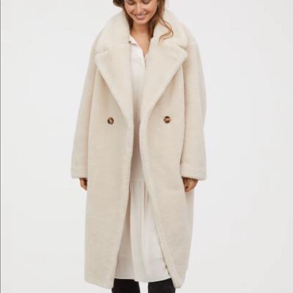H&M Jackets & Coats   Hm Faux Fur Coat Light Beige Sz12 Sold Out   Poshmark