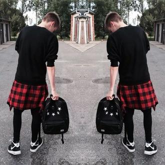 bag back to school backpack menswear flannel shirt stars