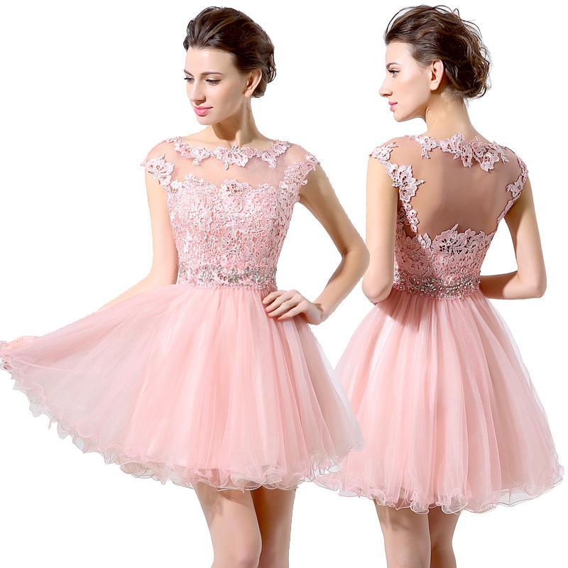 Crystals Homecoming Mini Dresses Tulle Gown Short Party Dresses Backless Pink Evening Dresses Capped Sleeves Open Back Appliques Iullsion Homecoming Dresses Long Homecoming Dresses Tampa From Lovemydress, $88.14  Dhgate.Com