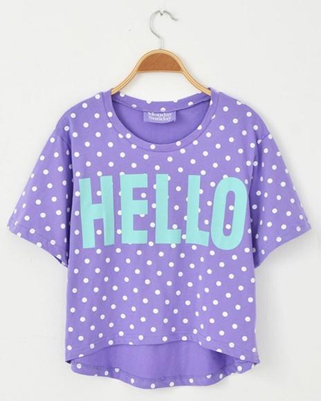 polka dot purple hello